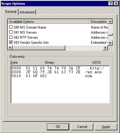 DHCP Option 43 on Win2K3 for ACS URL