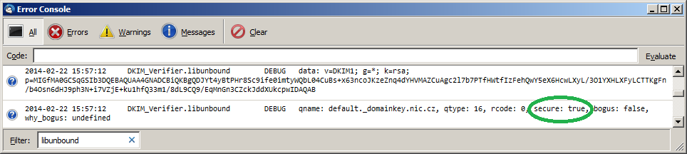 libunbound debug while verifying DKIM public key - from Thunderbird error console