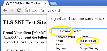 certificate transparency sct via tls extension